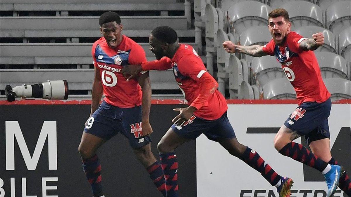 La joie de Jonathan David, Jonathan Ikoné et Xeka lors de Lille - Marseille en Ligue 1
