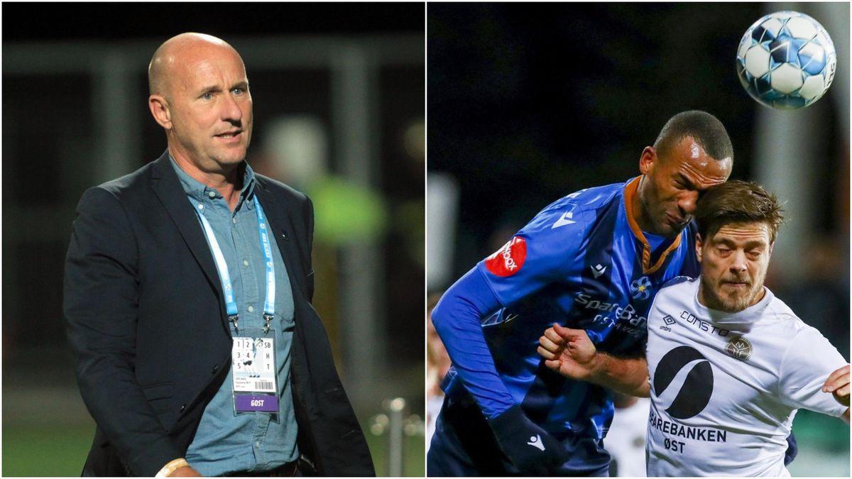 Styreleder i Norsk Toppfotball Cato Haug (t.v). Til høyre kjemper Stabæks Yaw Amankwah og Mjøndalens Sondre Solholm Johansen om ballen.