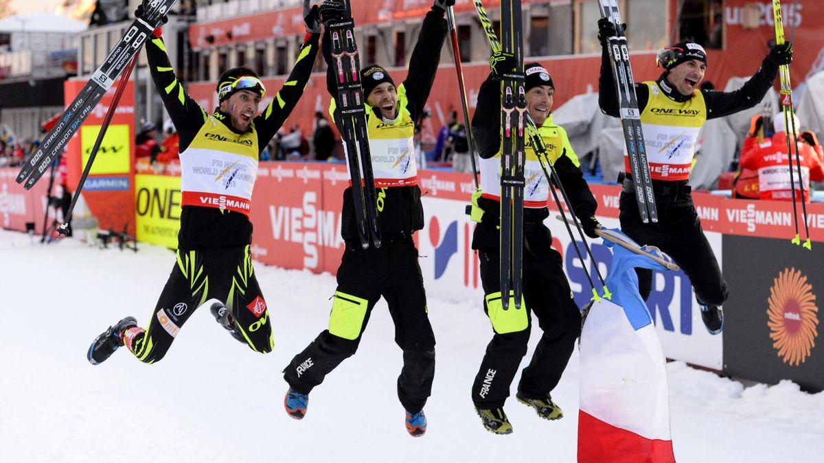Le relais français qui a décroché la médaille de bronze lors des Mondiaux 2015