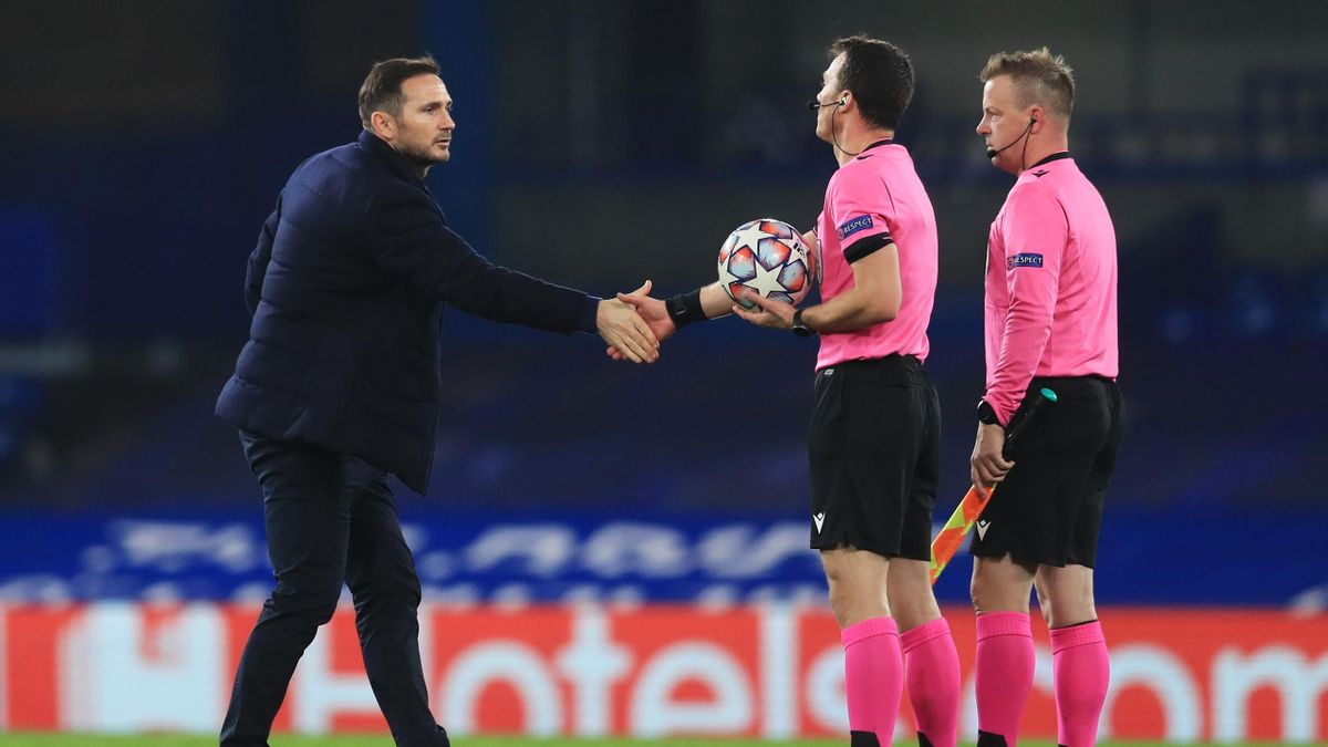 Frank Lampard, Manager of Chelsea interacts with the match officials after during the UEFA Champions League Group E stage match between Chelsea FC and Stade Rennais