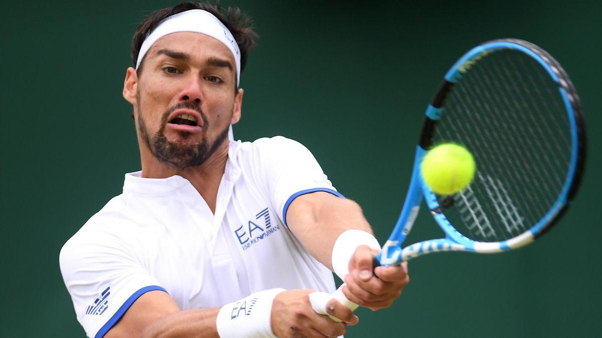 Fabio Fognini in campo al terzo turno di Wimbledon 2019 contro Sandgren