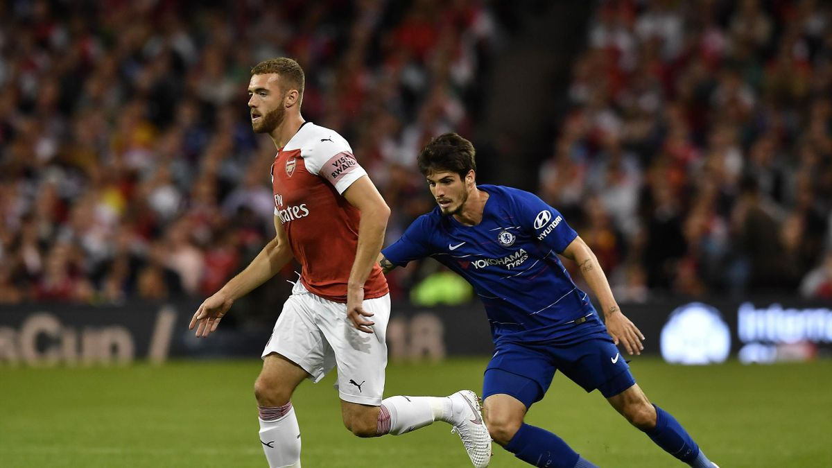 Calum Chambers of Arsenal and Lucas Piazon of Chelsea during the Pre-season friendly International Champions Cup game between Arsenal and Chelsea at Aviva stadium on August 1, 2018 in Dublin, Ireland.