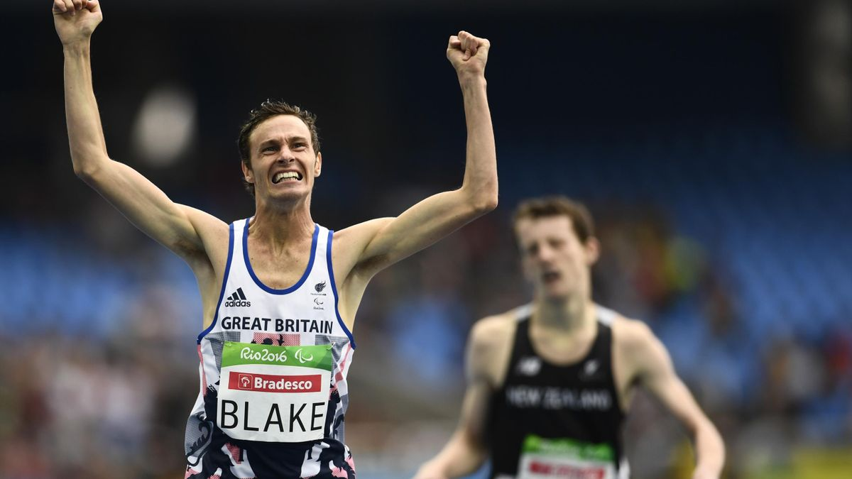 Great Britain's Paul Blake jubilates after winning the men's 400M T36 final of the Rio 2016 Paralympic Games