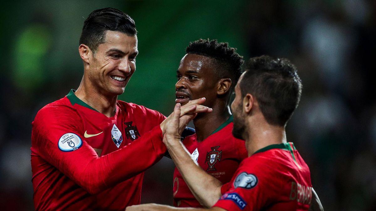 Cristiano Ronaldo, Nelson Semedo y Bernardo Silva (Portugal)