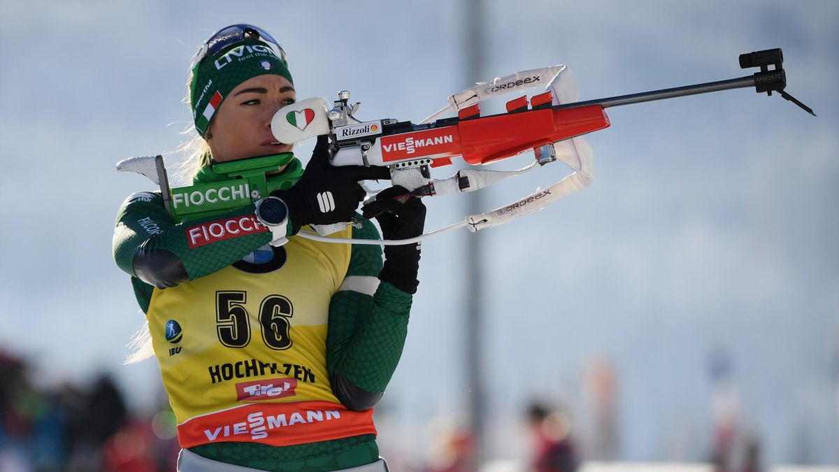 Dorothea Wierer of Italy warms up on the shooting range before the IBU Biathlon World Cup Women's 7.5 km Sprint on December 13, 2018 in Hochfilzen, Austria.