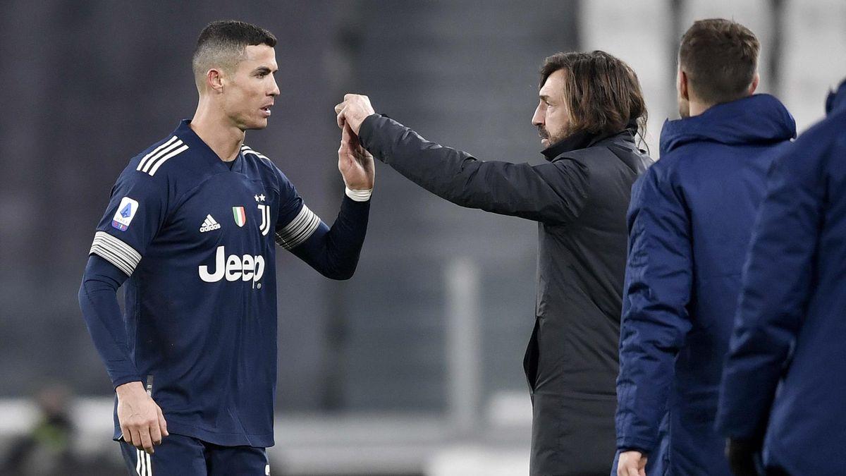 Cristiano Ronaldo (links) mit Juventus-Trainer Andrea Pirlo