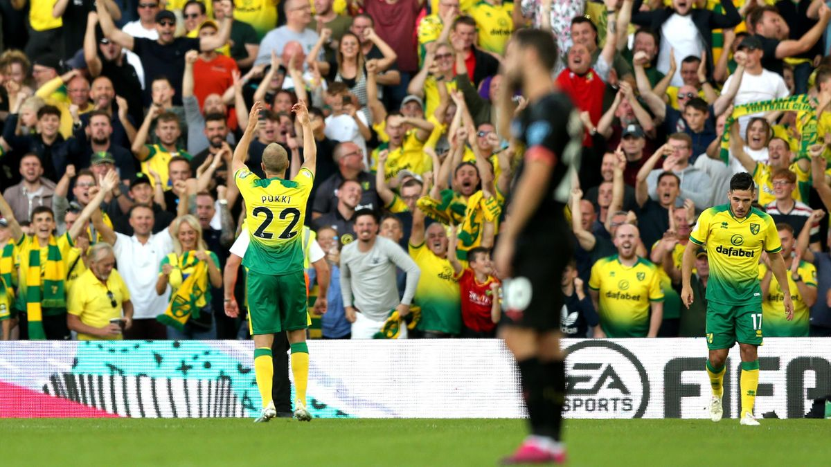 Teemu Pukki of Norwich City celebrates after scoring his team's third goal during the Premier League match against Manchester City at Carrow Road on September 14, 2019