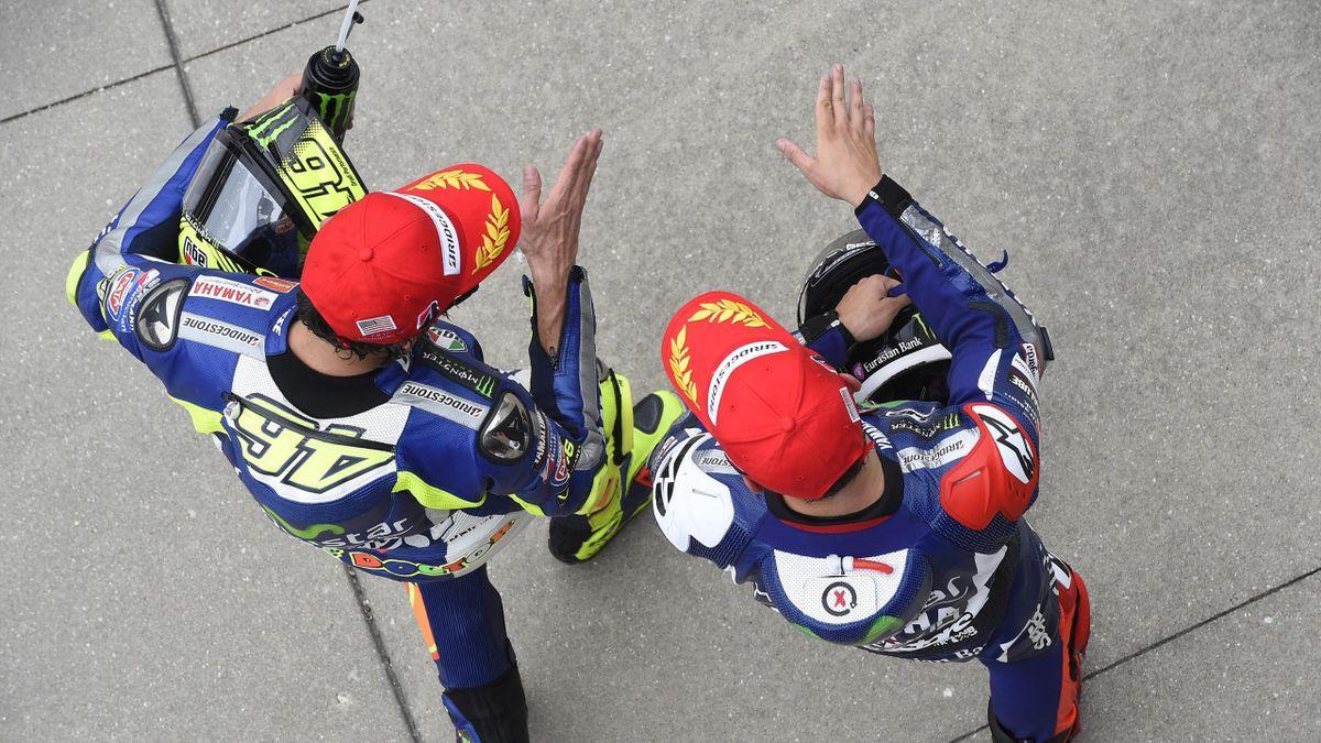 Valentino Rossi et Jorge Lorenzo (Yamaha Factory)  au Grand Prix d'Indianapolis 2015
