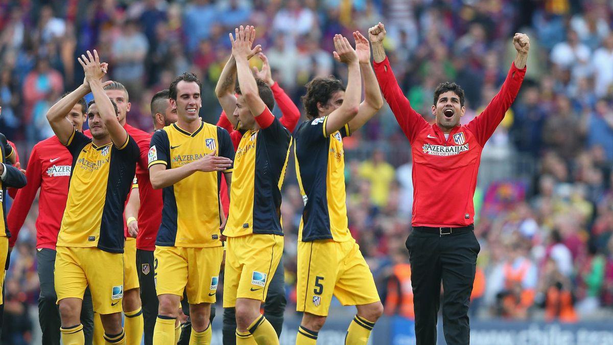 Игроки «Атлетико» празднуют победу в Ла Лиге