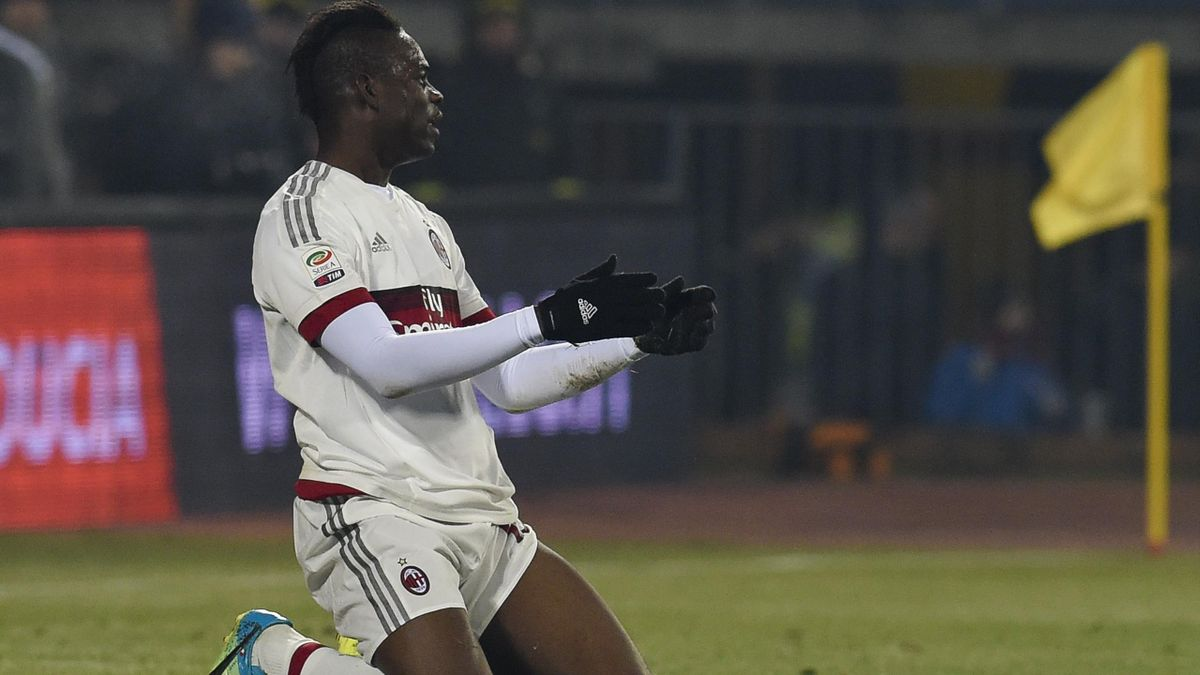AC Milan's forward from Italy Mario Balotelli reacts after missing a goal oportunity during the Italian Serie A football match Empoli vs AC Milan, on January 23