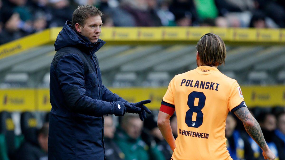 Trainer Julian Nagelsmann (l.) und Ex-TSG-Kapitän Eugen Polanski (r.)