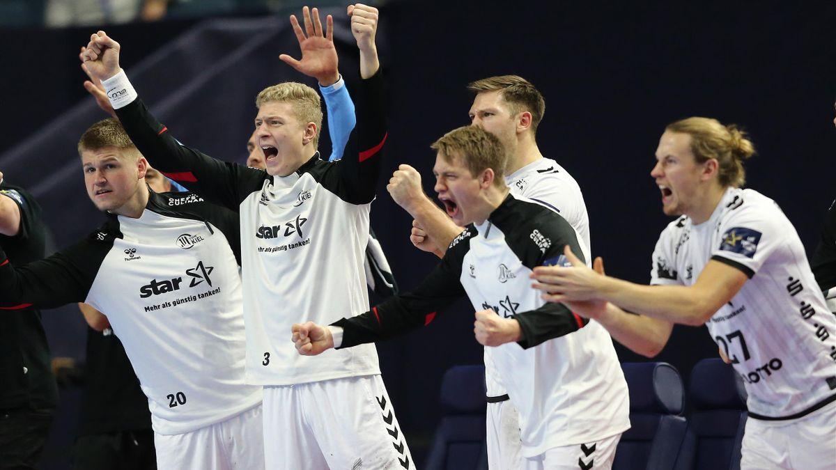 La joie des joueurs de Kiel, qui joueront la finale de la Ligue des champions 2019-2020