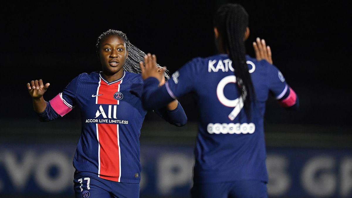 Les joueuses du PSG, Kadidiatou Diani et Marie Antoinette Katoto.