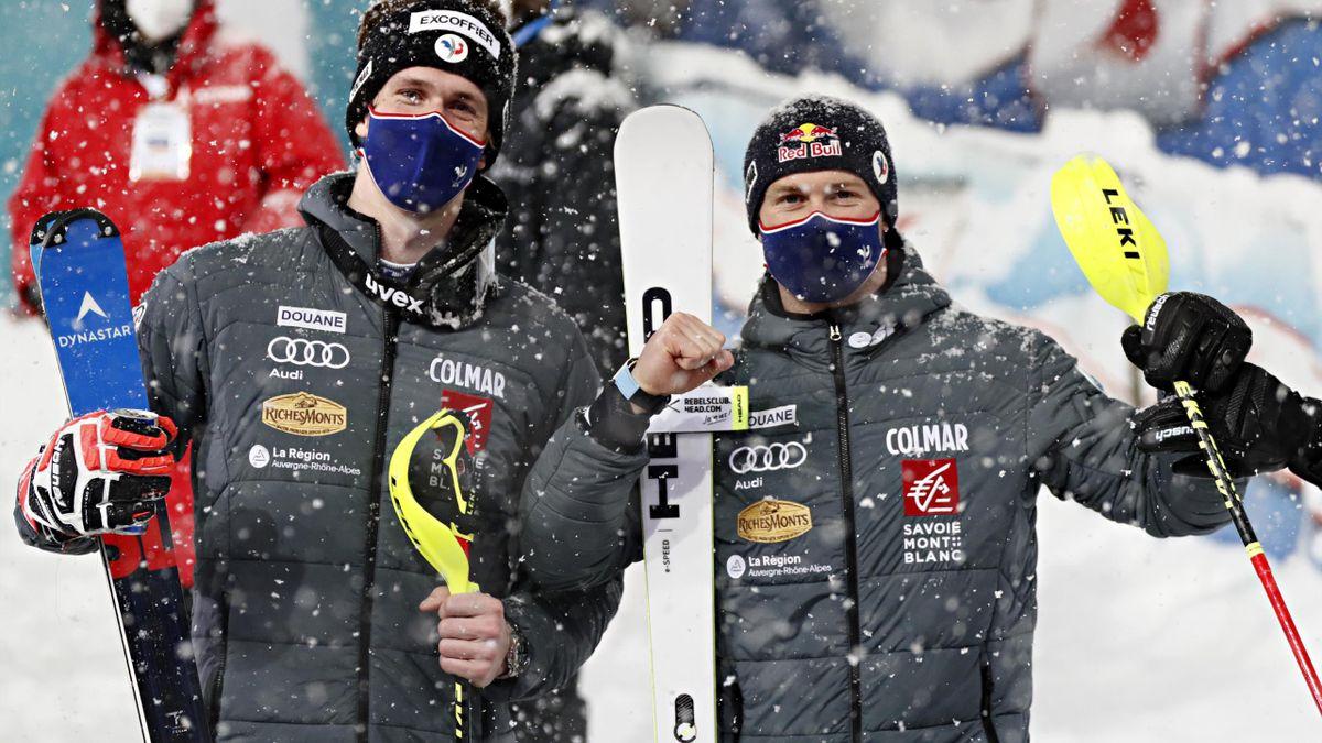 Clément Noël (2e) et Alexis Pinturault (3e) ont terminé sur le podium du slalom de Schladming le 26 janvier 2021