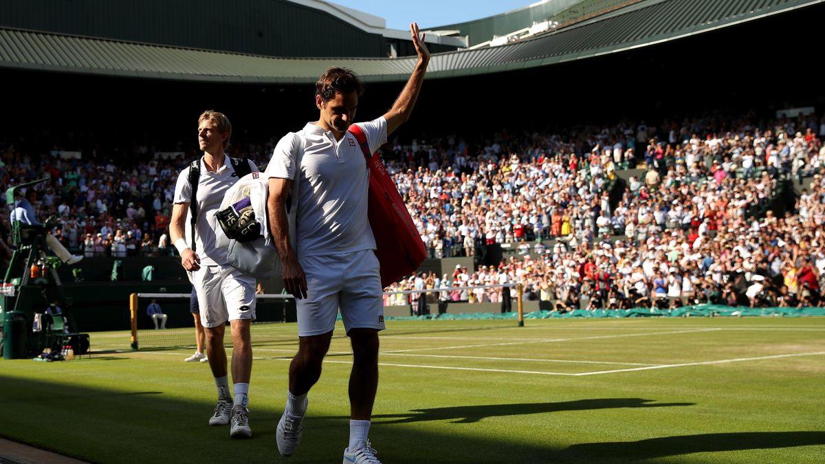 Roger Federer en Kevin Anderson op Wimbledon 2018