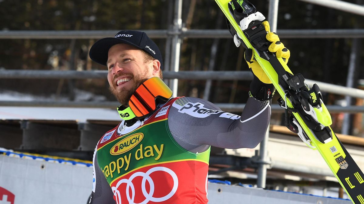 Kjetil Jansrud of Norway celebrates after winning the Audi FIS Alpine Ski World Cup Mens 2019 Super-G race at the Lake Louise ski resort in Alberta, Canada on November 25, 2018.