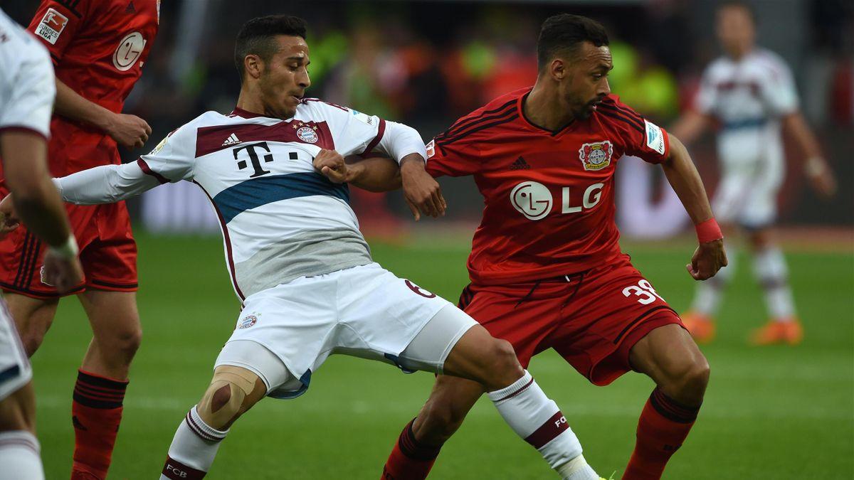 Schlager: Der FC Bayern mit Thiago (l.) empfängt Bayer Leverkusen um Karim Bellarabi