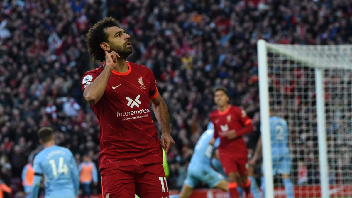 LIVERPOOL, ENGLAND - OCTOBER 03:(SUN OUT THE SUN ON SUNDAY OUT) Mohamed Salah of Liverpoolcelebrates after scoring the second goal during the Premier League match between Liverpool and Manchester City at Anfield on October 03, 2021 in Liverpool, England.