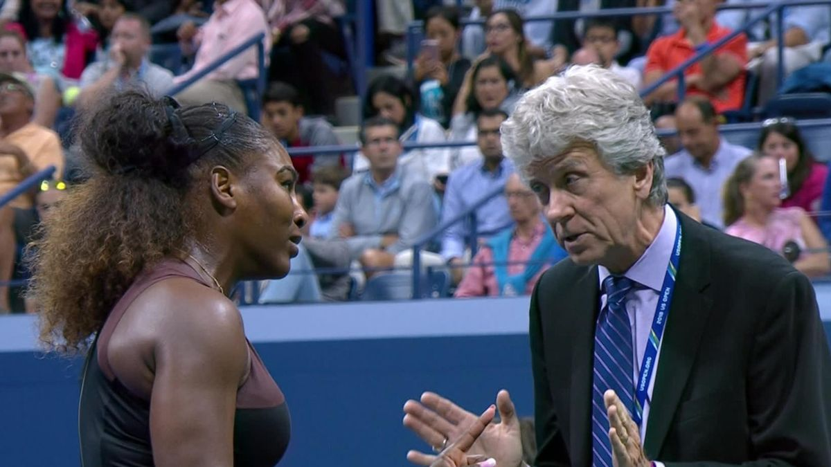 US Open 6 - Williams argument with the referee