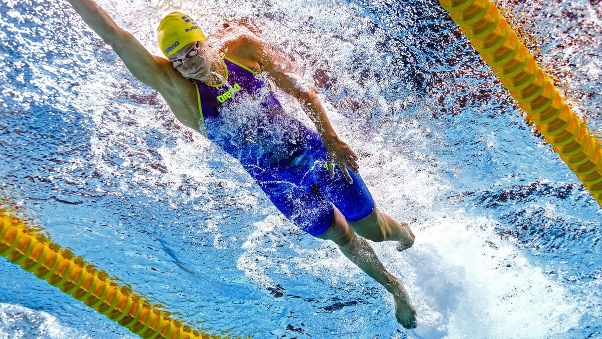This picture taken with an underwater camera shows Sweden's Sarah Sjostrom competing in a women's 100m freestyle heat during the swimming competition at the 2017 FINA World Championships in Budapest, on July 27, 2017.