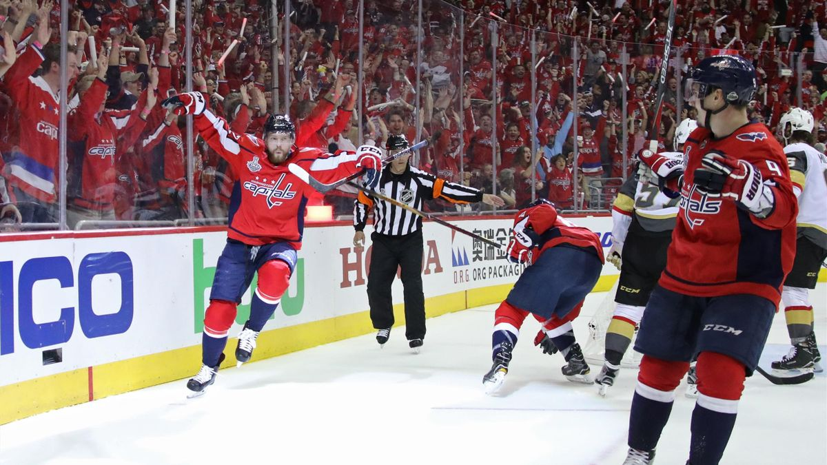 Evgeny Kuznetsov #92 of the Washington Capitals celebrates his second-period goal against the Vegas Golden Knights in Game Three of the 2018 NHL Stanley Cup Final at Capital One Arena on June 2, 2018