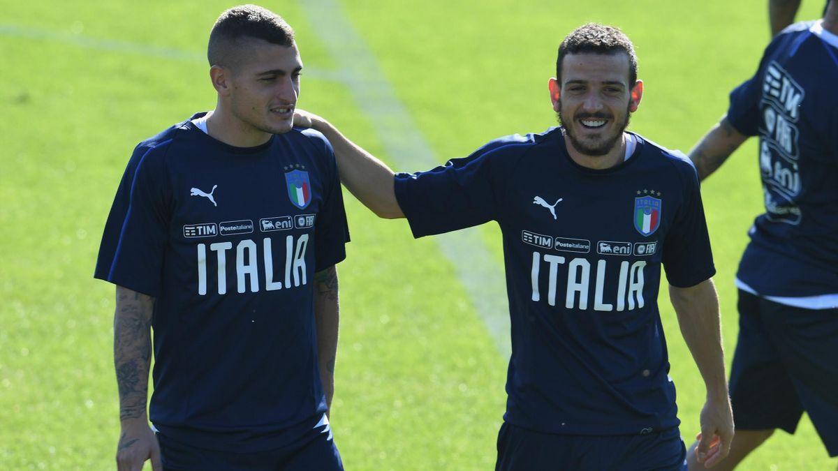 Marco Verratti et Alessandro Florenzi avec la Squadra Azzurra.