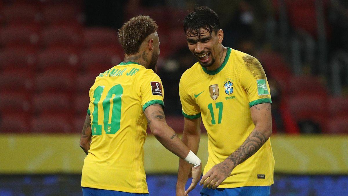 Neymar et Paqueta avec la sélection brésilienne