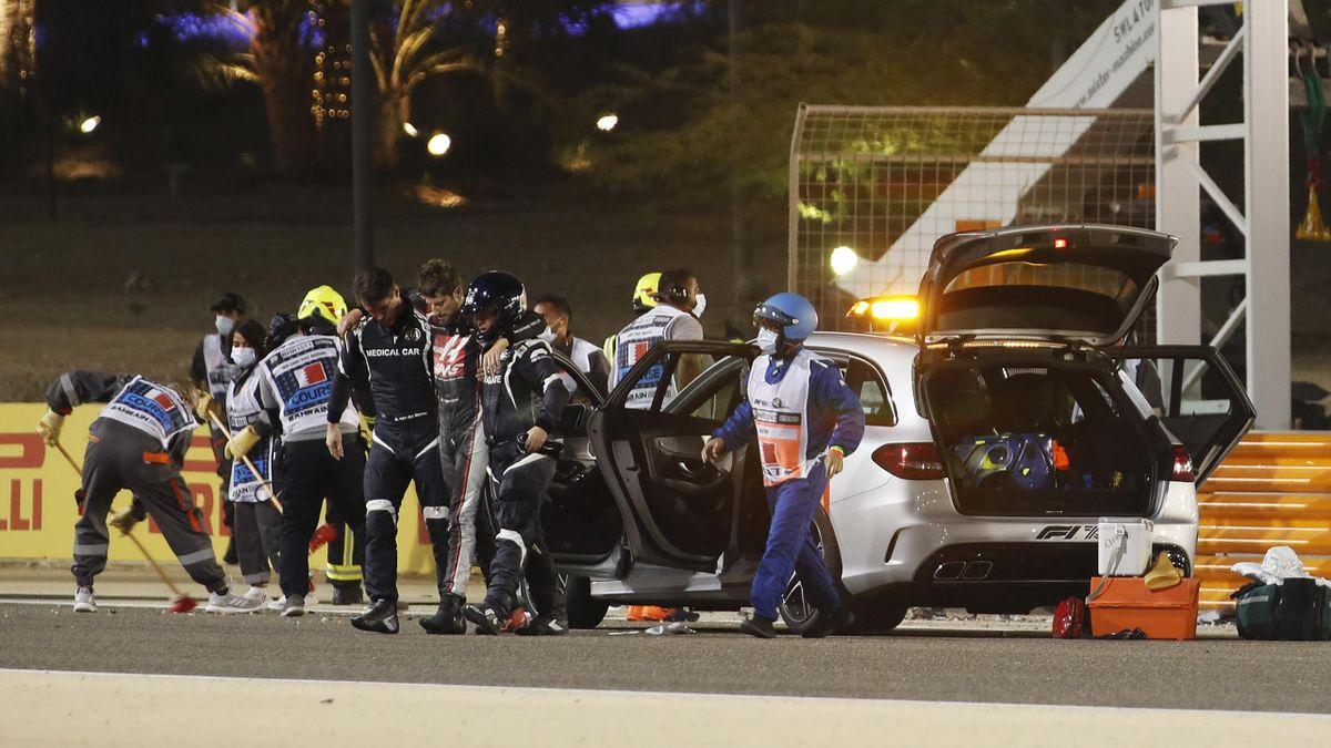 Romain Grosjean escapes his car after horrific crash in Bahrain