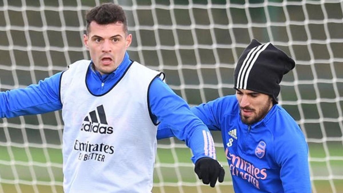Granit Xhaka (left) looks set to remain a midfield partner of Dani Ceballos
