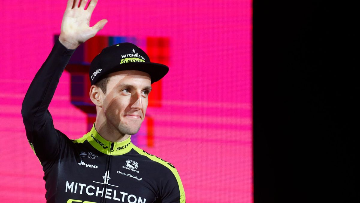 British rider Simon Yates (Team Mitchelton-Scott) waves during the team presentation of the upcoming 2019 Giro d'Italia,