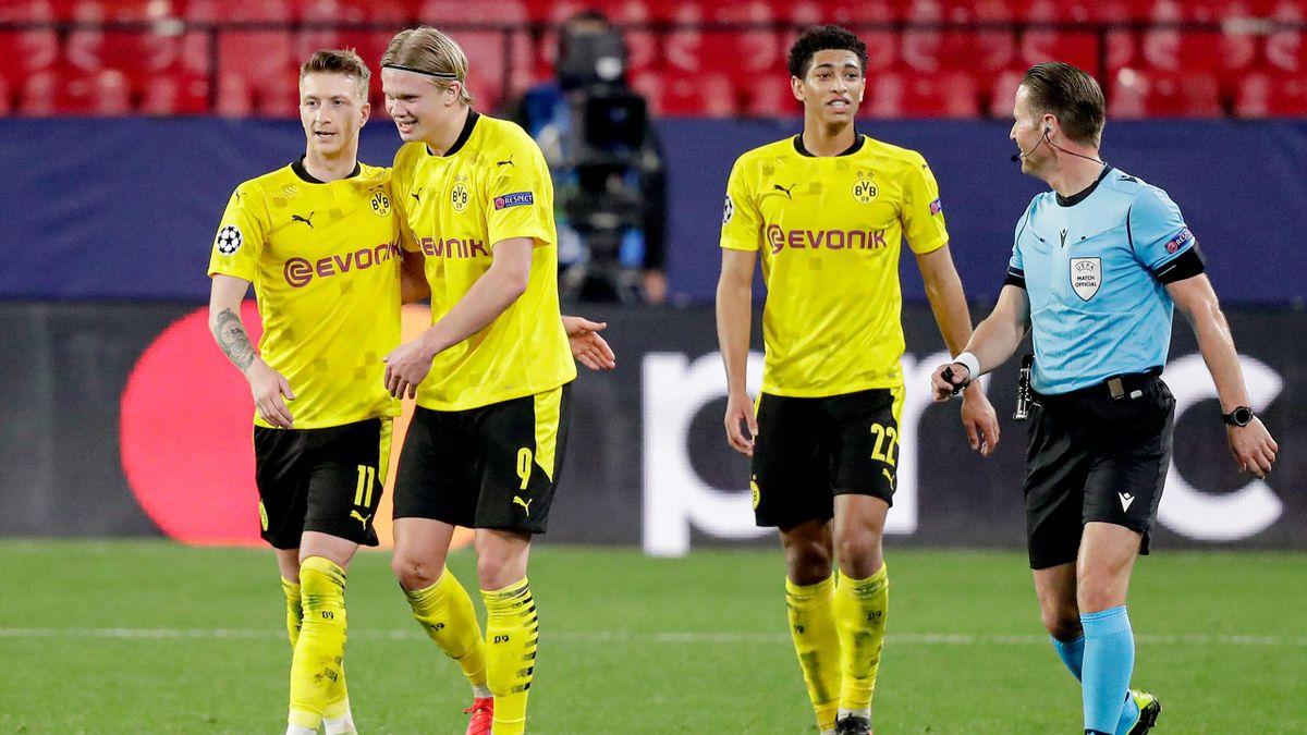Marco Reus, Erling Braut Haaland og Jude Bellingham.