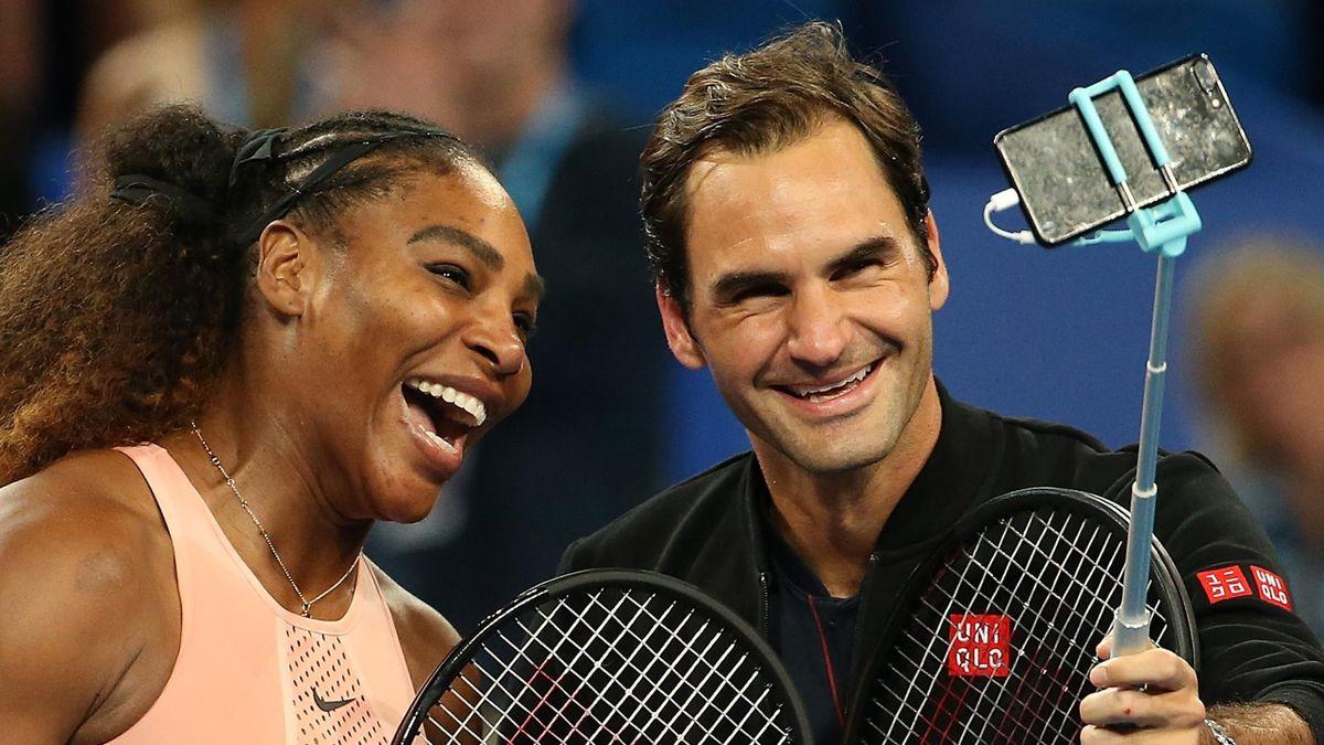 Serena Williams (L) and Roger Federer