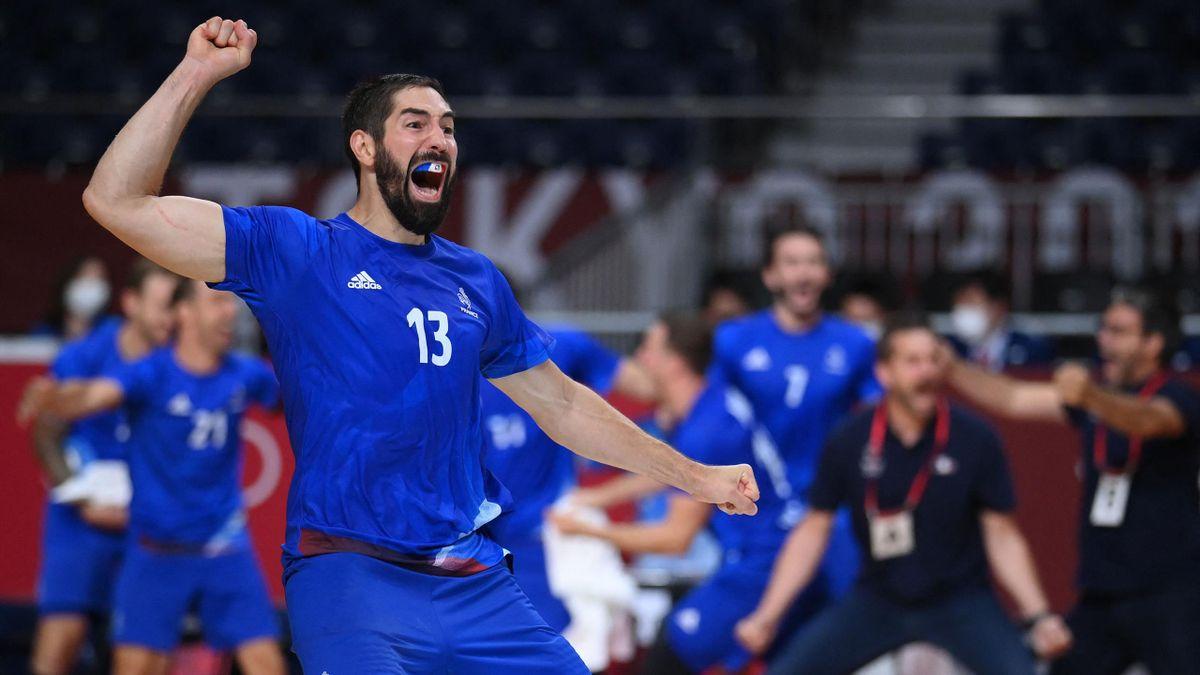 Nikola Karabatic bejubelt den Olympiasieg mit Frankreich