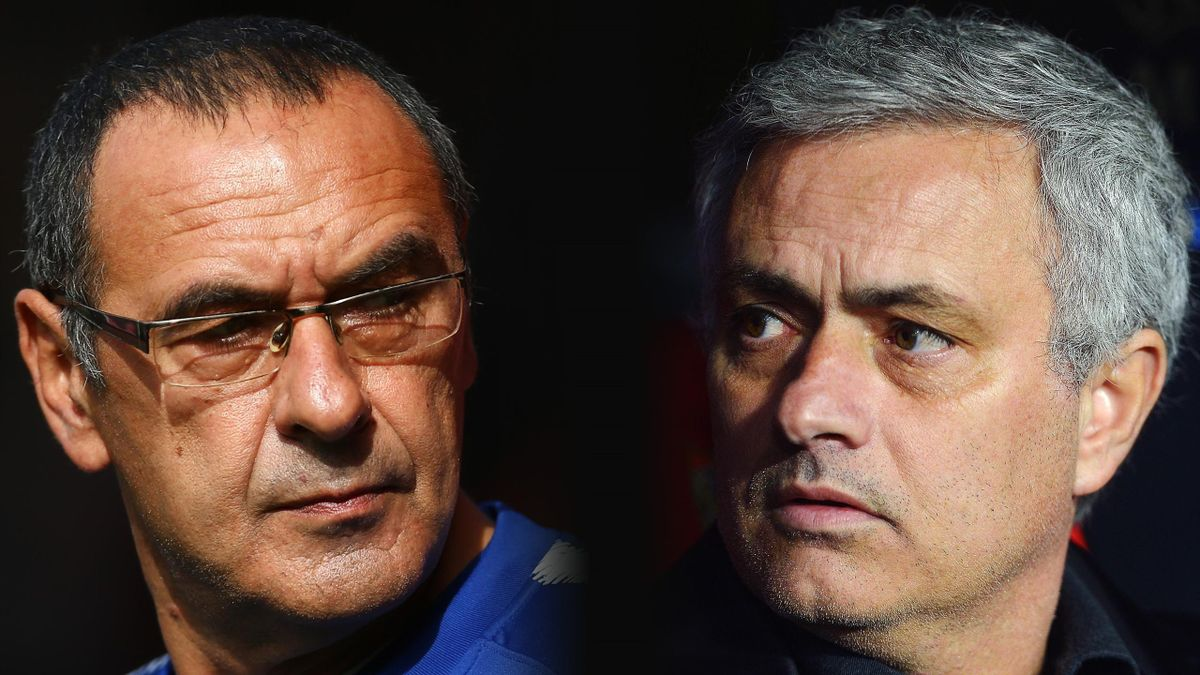 composite image a comparison has been made between Maurizio Sarri, Manager of Chelsea (L) and Jose Mourinho, Manager of Manchester United