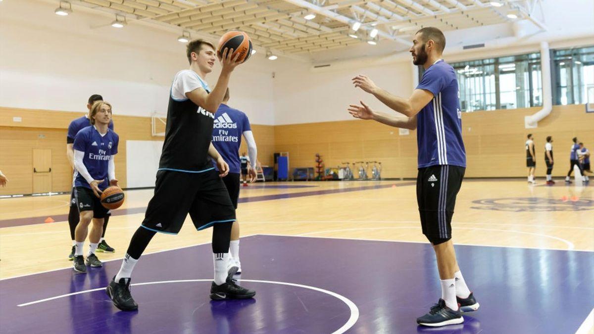 Luka Doncic entrenando con Karim Benzema y Luka Modric
