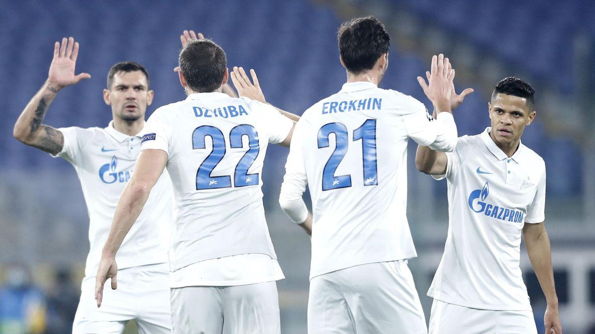 Игроки «Зенита» в матче против «Лацио»