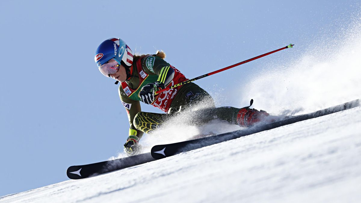 Mikaela Shiffrin of USA in action during the Audi FIS Alpine Ski World Cup Women's Giant Slalom on October 26, 2019 in Soelden, Austria.