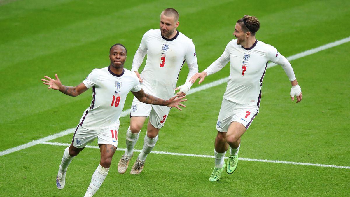 Raheem Sterling après son but lors d'Angleterre - Allemagne en huitième de finale de l'Euro, le 29 juin 2021