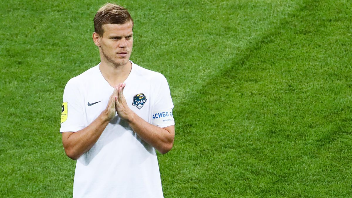 FC Sochi's player Alexander Kokorin stands on the pitch with his hands folded before a 2019/2020 Russian Premier League Round 23 football match between FC Sochi and FC Rostov at Fisht Stadium