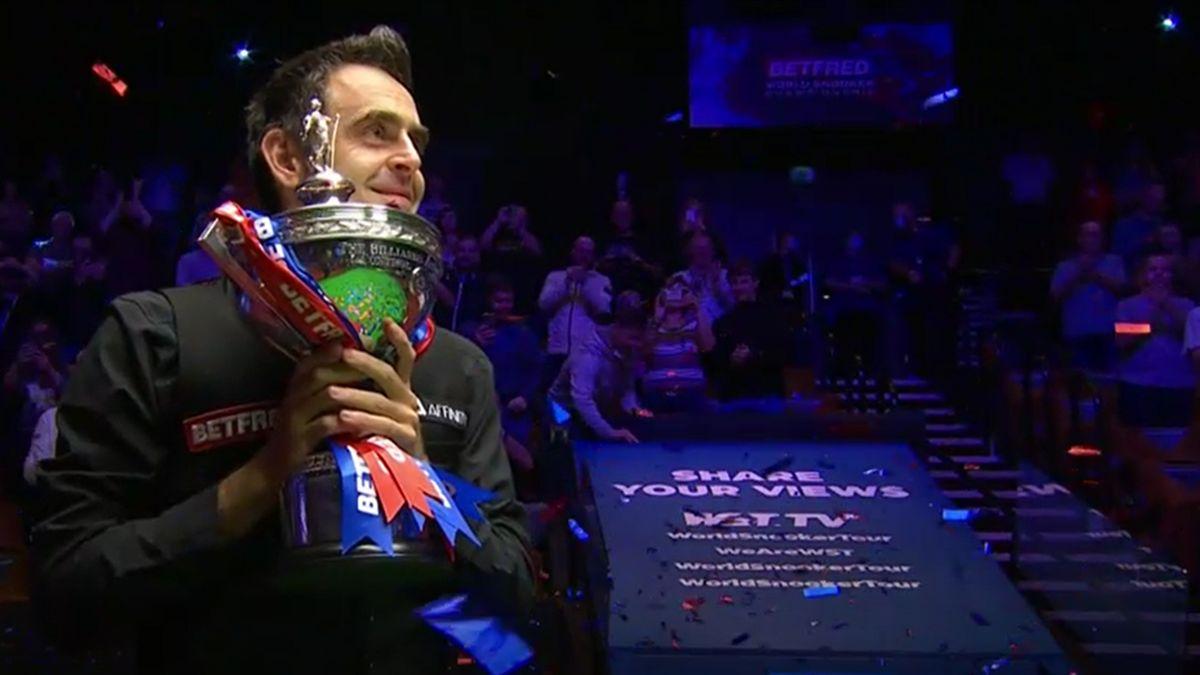 Ronnie O'Sullivan celebrates winning the 2020 World Snooker Championship