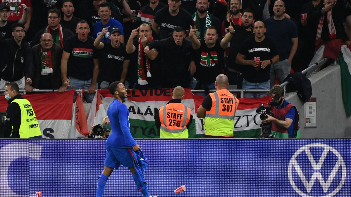 Raheem Sterling is abused by fans, Hungary v England, World Cup qualifying, Puskas Arena, Budapest, September 2, 2021