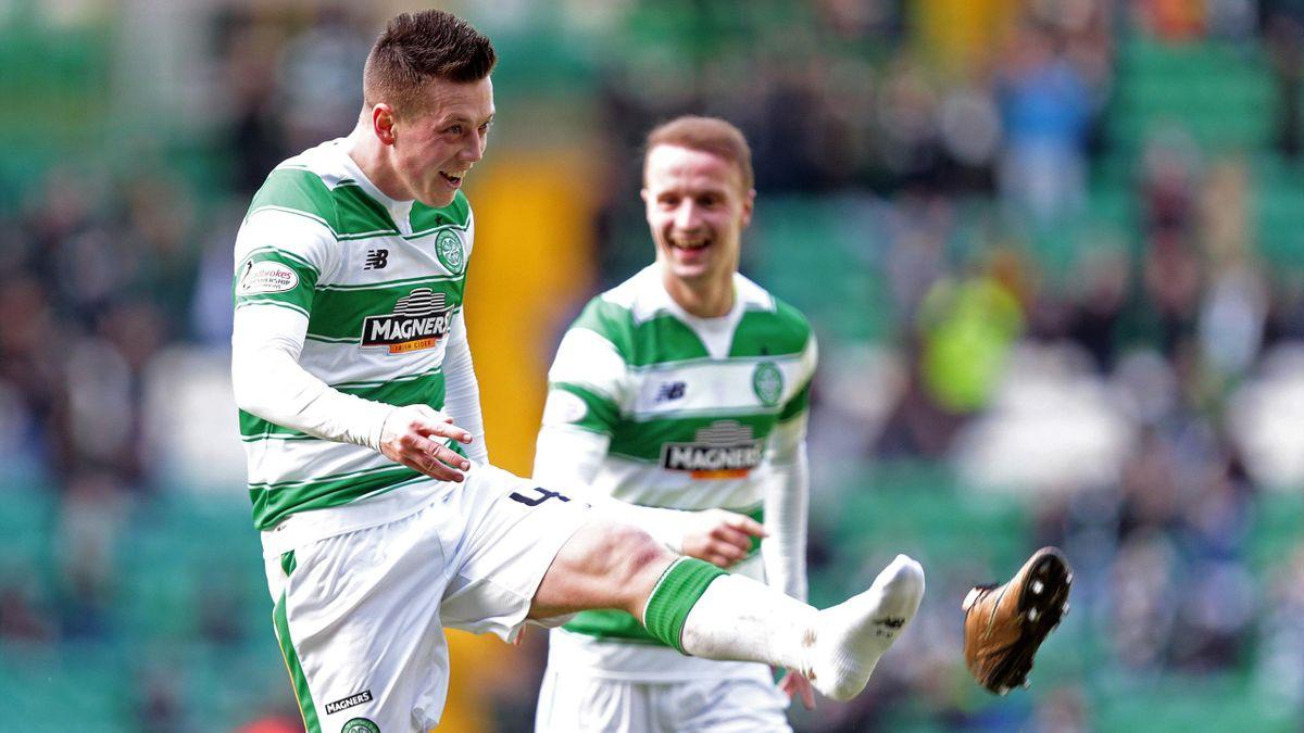 Callum McGregor celebrates after scoring the third goal for Celtic