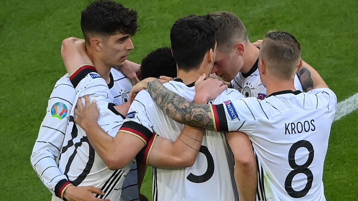 Germany celebrate Kai Havertz's goal