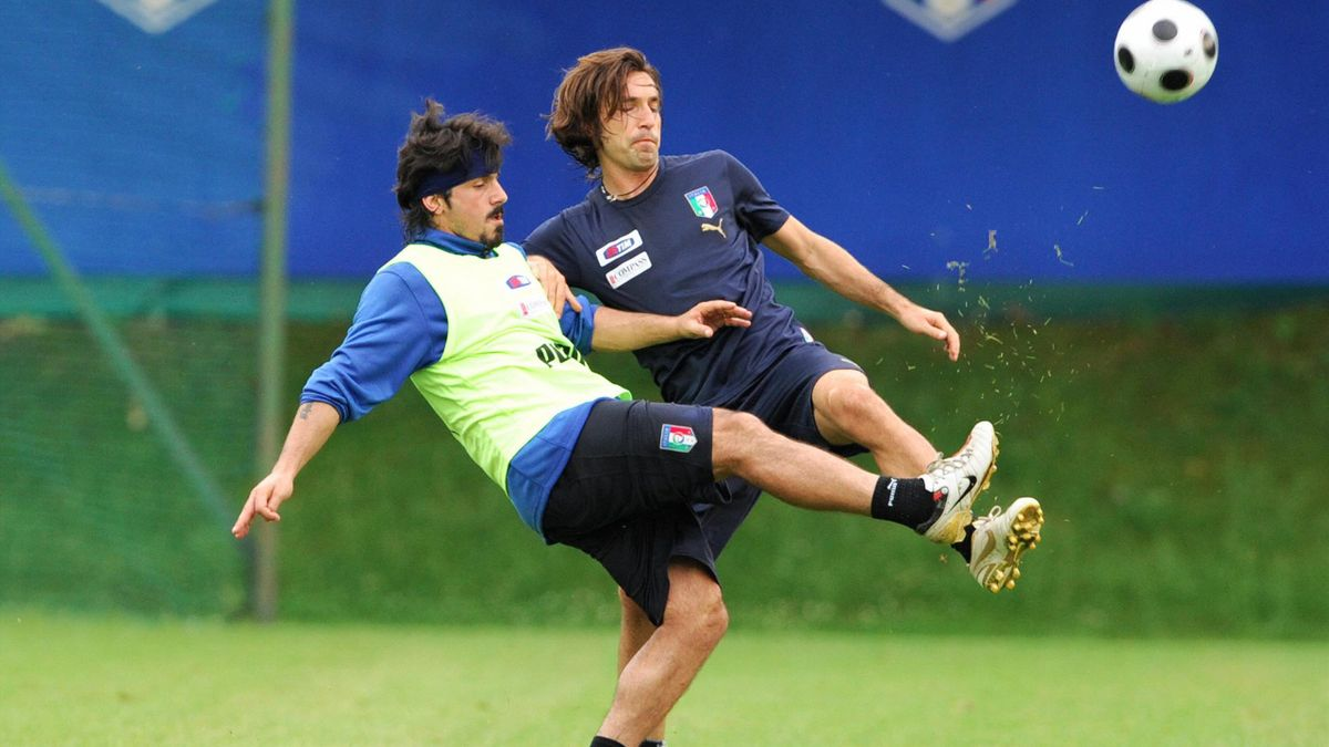 Gennaro Gattuso et Andrea Pirlo lors de la préparation de l'Euro 2008.