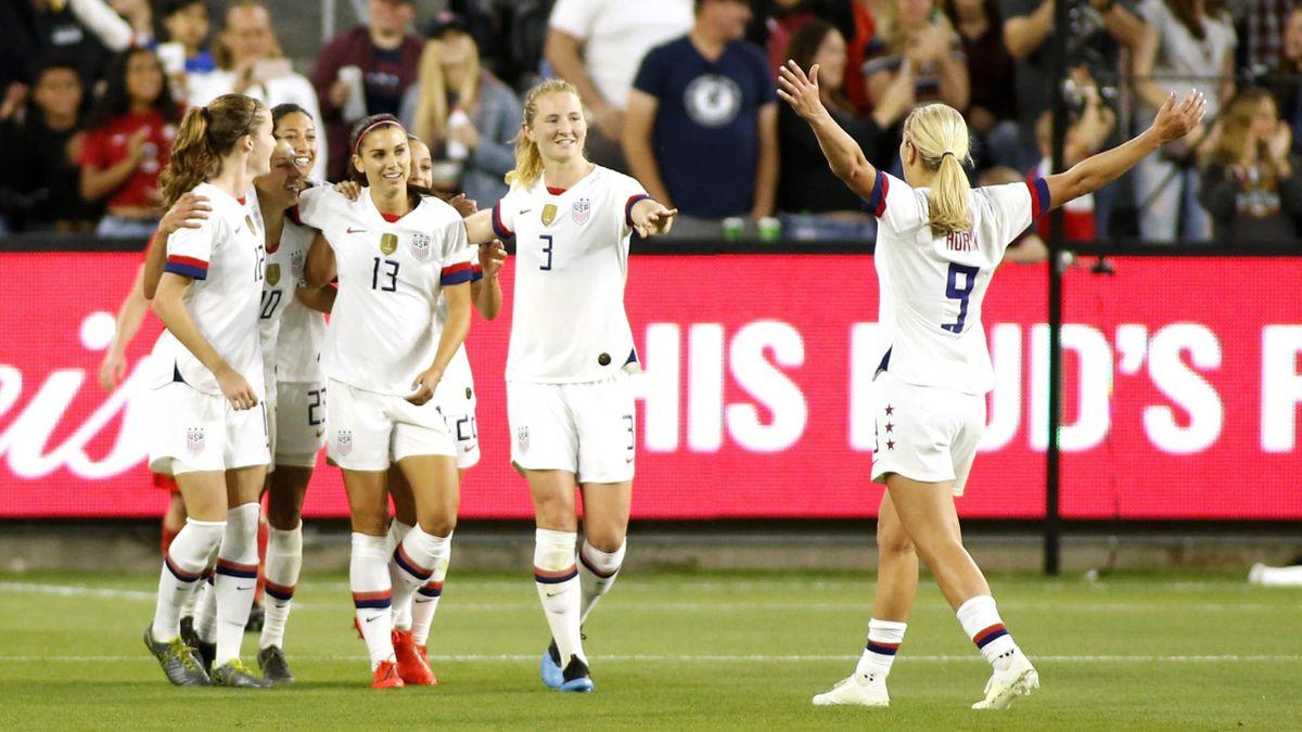 L'équipe féminine de football des Etats-Unis lors de leur match contre la Belgique
