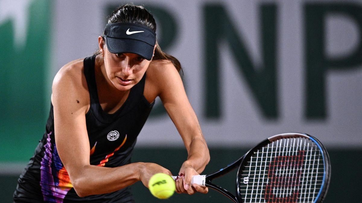 Océane Dodin lors de son match du 1er tour contre Madison Keys à Roland-Garros 2021