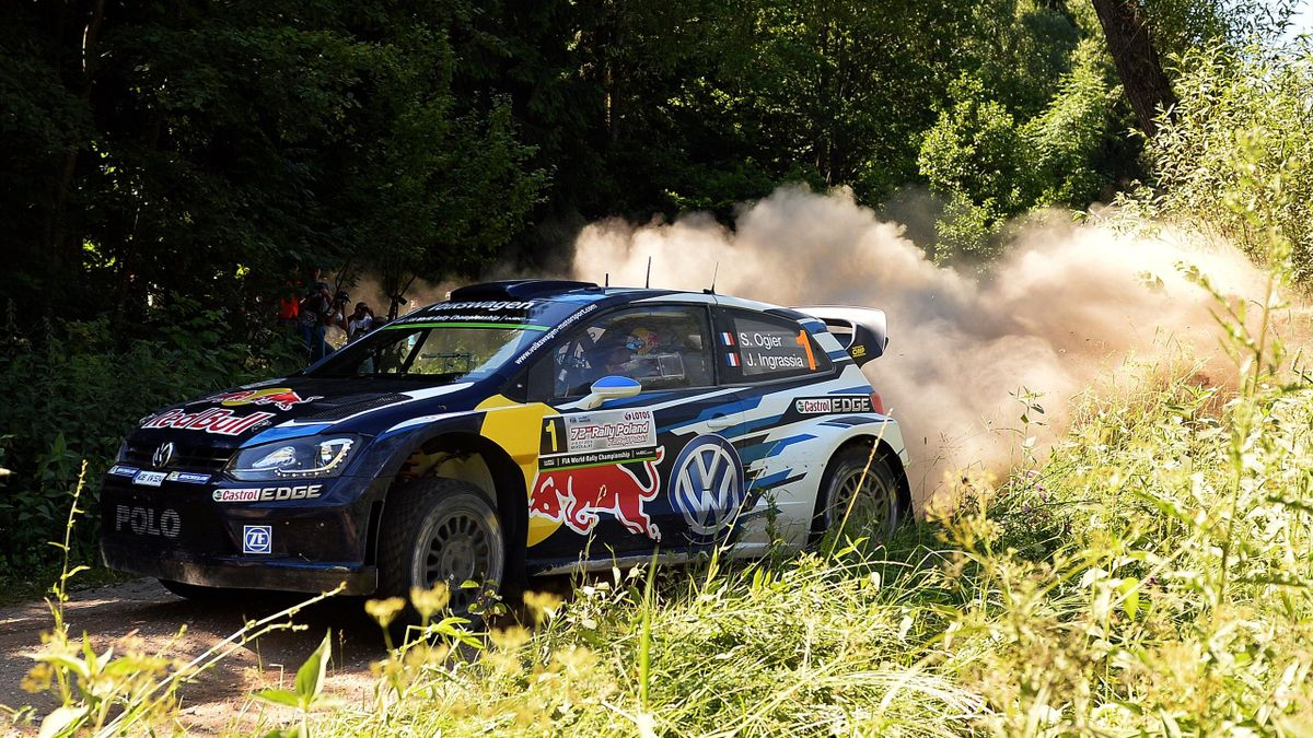 sébastien Ogier (Volkswagen) sur le rallye de Pologne 2015