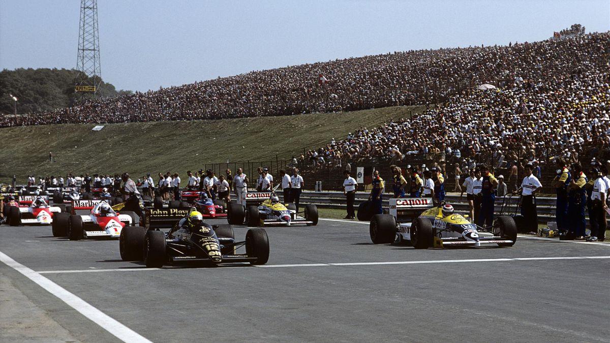 Ayrton Senna (Lotus) et Nelson Piquet (Williams) au Grand Prix de Hongrie 1986