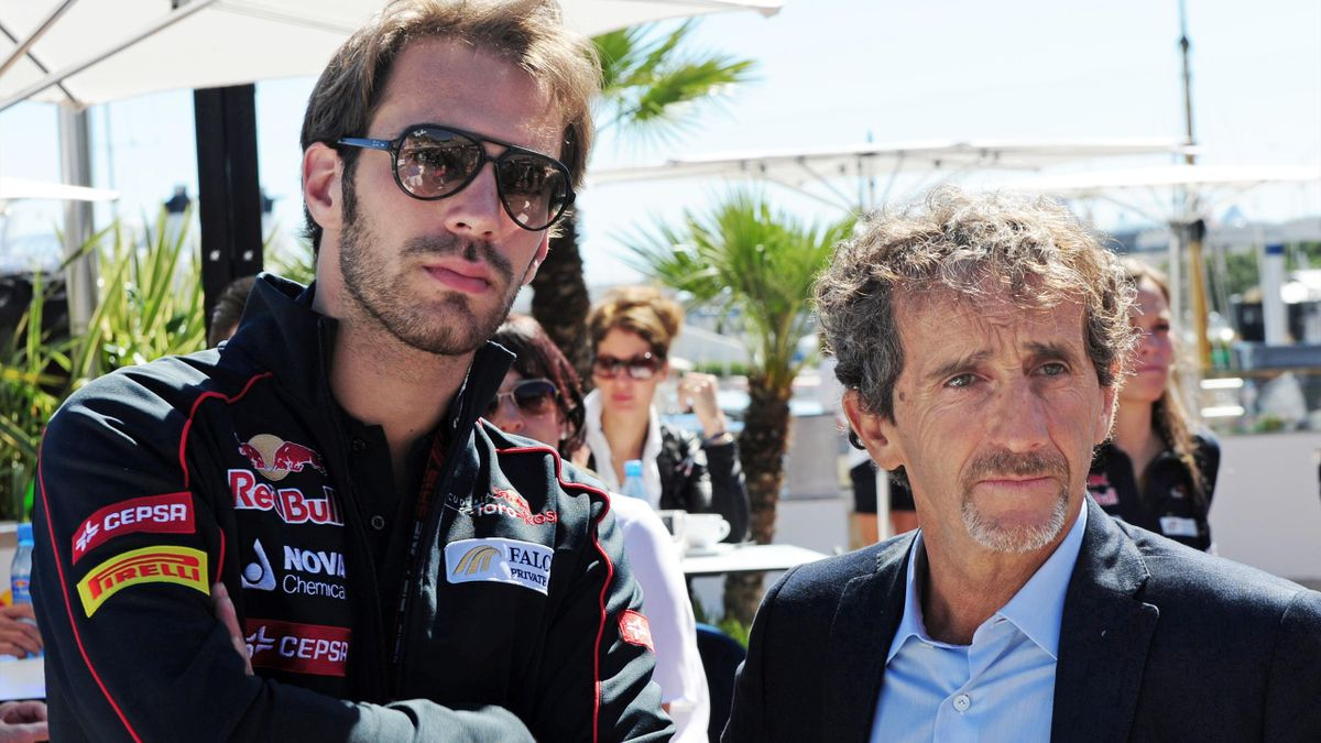 Jean-Eric Vergne et Alain Prost en 2013, lors du GP de Monaco.