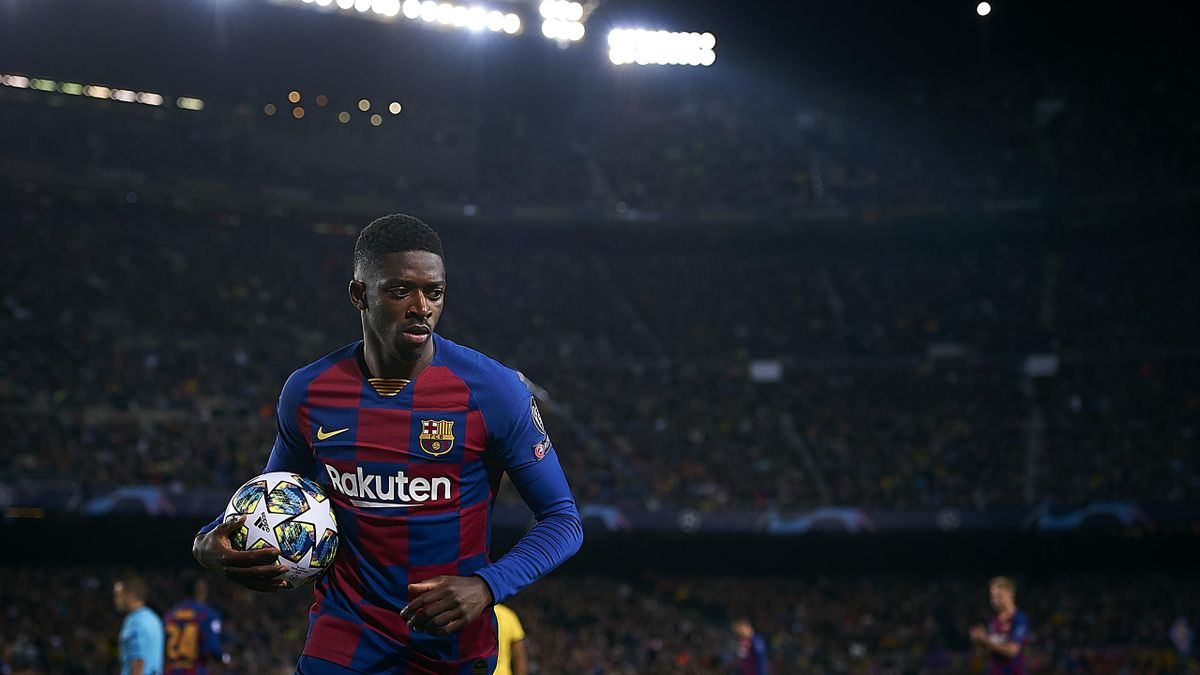 Ousmane Dembele of Barcelona looks on during the UEFA Champions League group F match between FC Barcelona and Borussia Dortmund at Camp Nou on November 27, 2019 in Barcelona, Spain.